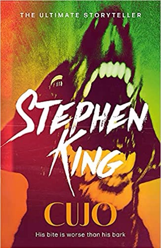 The picture shows the book cover for Cujo by Stephen King